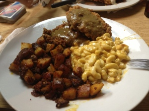 Straight up southern food for dinner.  Fried chicken with gravy, mac and cheese and home fries! YUM!