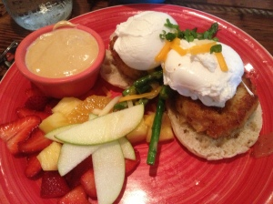 Eggs Benedict with a Shrimp cake and a Crab cake on and English Muffin with Asparagus and fruit salad!